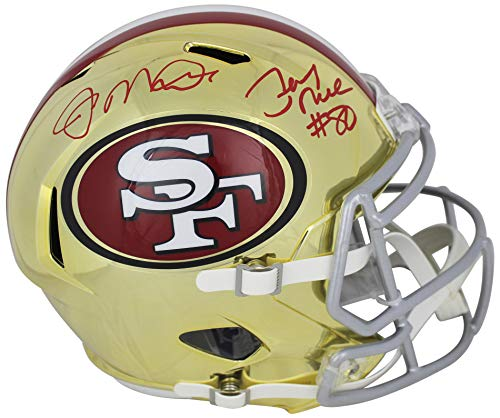 Joe Montana & Jerry Rice Signed In Red Full Size Chrome Speed Rep Helmet BAS