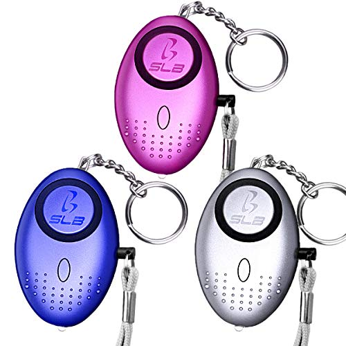 Personal Alarm, SLB 3 Pack Security Alarms Keychain with LED Flashlight, Police Approved Mini 140DB Self Defence Panic Rape Attack Safety Alarms for Women Kids and Night Walkers, Batteries Included