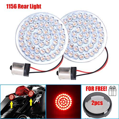 (Motorcycle 2'' Bullet Style Inserted Bulb 1156 LED Rear Turn Signal Red LED Brake Light + 2pcs Smoke Lens For Harley Sportster XL883 2002-2014 FXD Dyna Super Glide 2002-2010)