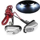 2PCS x Chrome LED Car Exterior Windshield Jet Spray Nozzle Wiper Washer Eye Lamp (White)