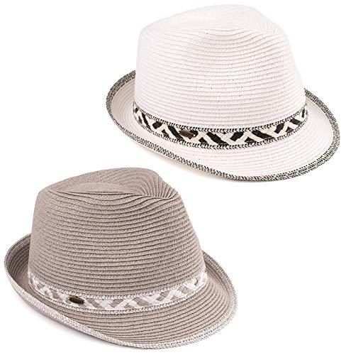 (H-6108-2-3230921 Fedora Bundle: White & Grey )