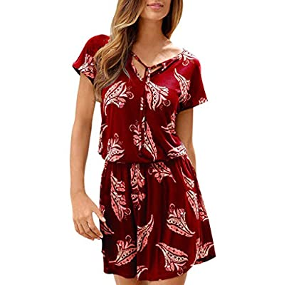 YFancy Women's Short Sleeve Loose Mini Dresses Summer Casual Floral Bohemian Sundress V Neck Short Plus Size Dresses