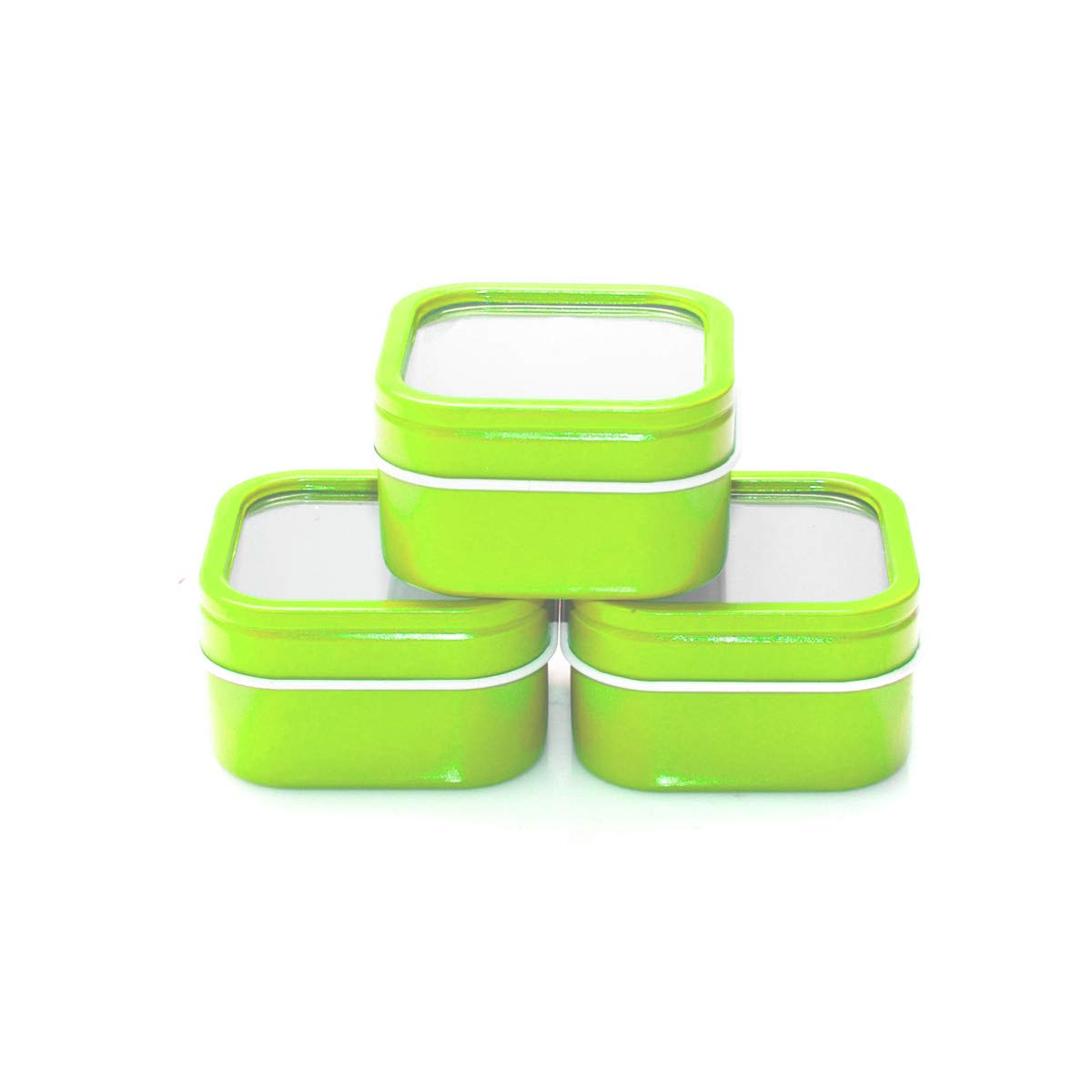 Mimi Pack 4 oz Square Tin Cans with Clear Window Slip Cover Lid for Favors, Spices, Storage, Candies, Mints, Candles and Crafts 24 Pack (Lime Green)