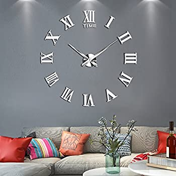 Vangold Large 3D DIY Wall Clock, 2 Year Warranty Roman Numerals Clock  Frameless Mirror Surface Wall Sticker Home Decor For Living Room Bedroom
