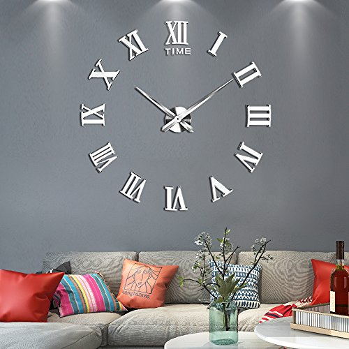 Vangold Large 3D DIY Wall Clock, 2-Year Warranty Roman Numerals Clock Frameless Mirror Surface Wall Clock Home Decor for Living Room -