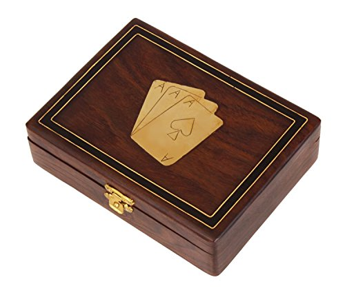 Decorative Wooden Standard Double Deck Playing Cards Holder Case Storage Box Handmade with Fine Brass Ace Design for Adults Kids