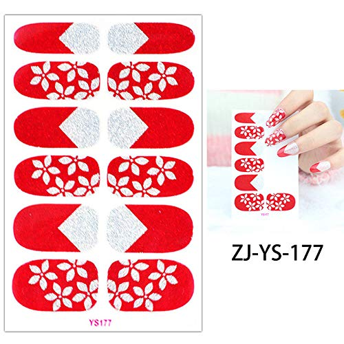 1 Sheet Red Glitter ZJ-YS Nail Art Manicures Tool Full Cover Nail Sticker White Flowers Snowflake Decal Happy Wedding ZJ-YS-177