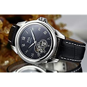 TSS Men's Automatic Skeleton Watch Leather Band T8009C2