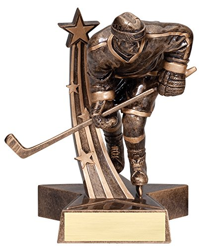 Male Hockey Gold Star Resin Trophy Award - Engraveable - Up to 3 lines - Personalized - Custom