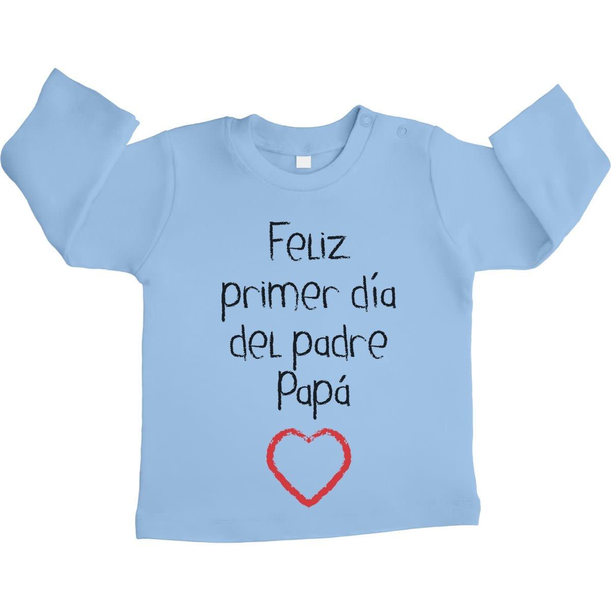 Shirtgeil Regalo - Feliz Primer Día del Padre Papá Camiseta Bebé Unisex Manga Larga