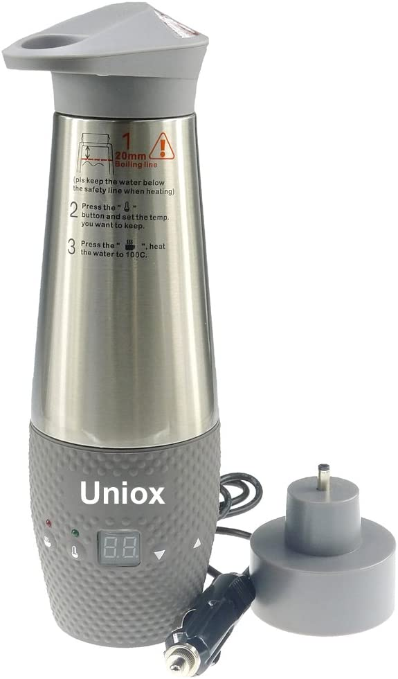 Uniox Car Cigarette Lighter DC12V Electric Kettle Boil Water Heating Cup Vacuum Insulated Automatic Working