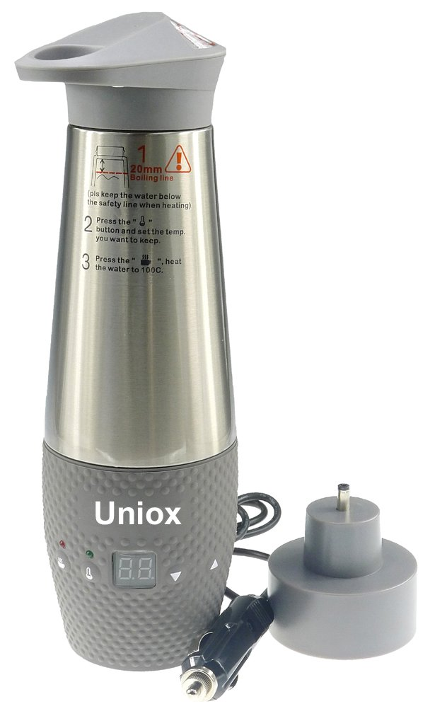Uniox Car Cigarette Lighter DC12V Electric Kettle Boil Water Heating Cup Vacuum Insulated Automatic Working (Gray)