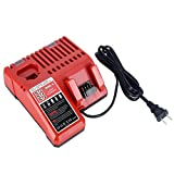 Biswaye Battery Charger 48-59-1812 for 12V-18V Milwaukee M12 M14 M18 Lithium Battery 48-11-2420 48-11-2440 48-11-1820 48-11-1840 48-11-1850 48-11-2401 48-11-1890
