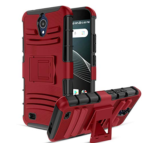 (CaseBing for AT&T AXIA(QS5509A) Case,[Heavy Duty][Built-in Kickstand][Dual Layer] Non-Slip Shock Absorption Reinforced Corner Hybrid Full-Body Protective Case Cover-PC-Red)