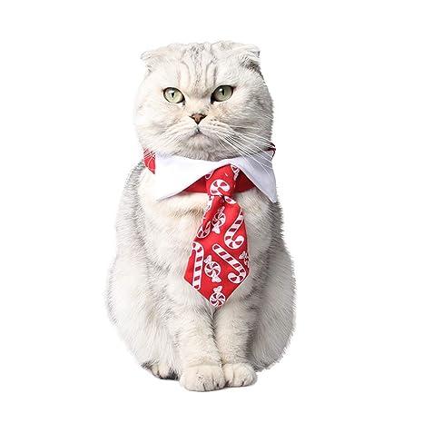 XIYAO Mascota Corbata, Tejido de Navidad Chucherías Imprimir Cat ...