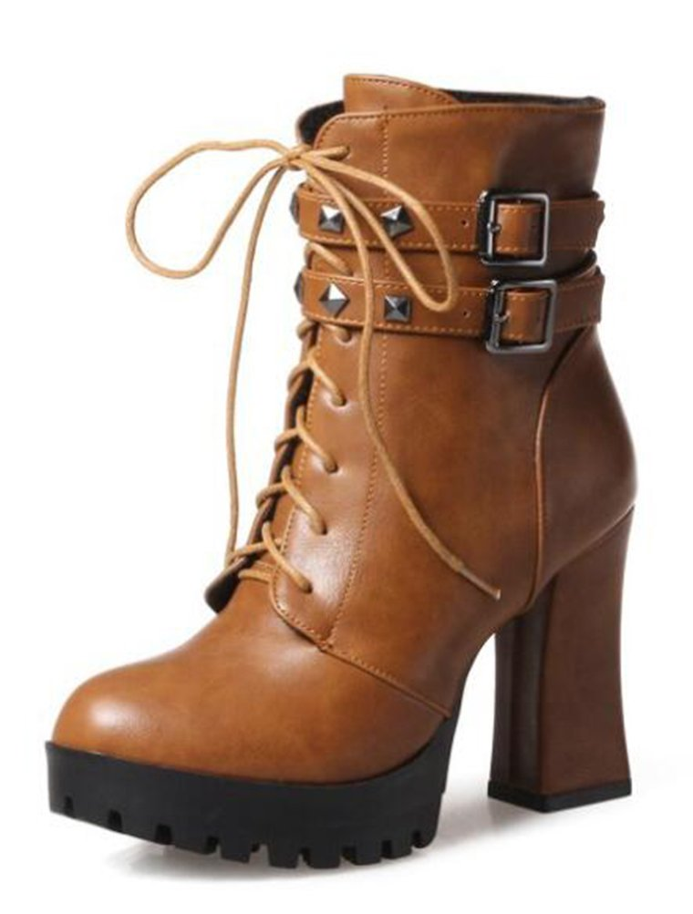 Easemax Damen Schick Nieten Kurzschaft Lace Up High heels Blockabsatz Stiefel Mit Absatz  40 EU|Braun