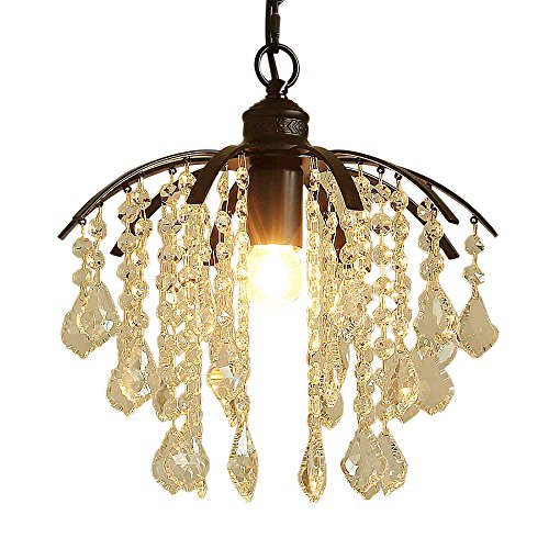 Siminda Crystal Chandeliers Light Modern Flush Mount Ceiling Light Fixture with Hand-Polished Crystal Beads for Dining Room, Cafe, Bar, Corridor, Hallway, Entryway, Passway, for Indoor Black