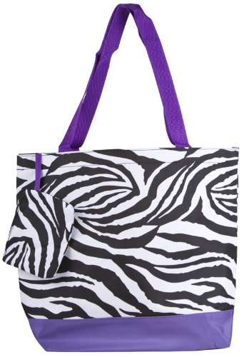 Zebra Print Tote Bag Purple Trim Large, Bags Central