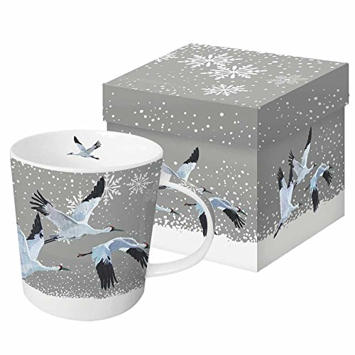 Paperproducts Design Mug In Gift Box Featuring Snowfall Cranes Design, 5 x 4 x 4