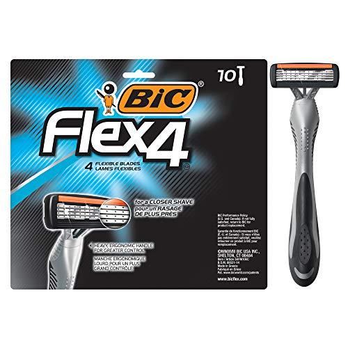 4 Disposable Razors - BIC Flex 4 Men's 4-Blade Disposable Razor, 10 Count
