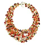 Secret Autumn Flower Multi Stone Collar Necklace