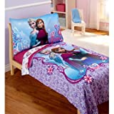 Disney Frozen Elsa & Anna 4pc Toddler Bedding Set, Includes printed comforter, fitted sheet, flat sheet and reversible pillowcase, made of 100% polyester microfiber fabric