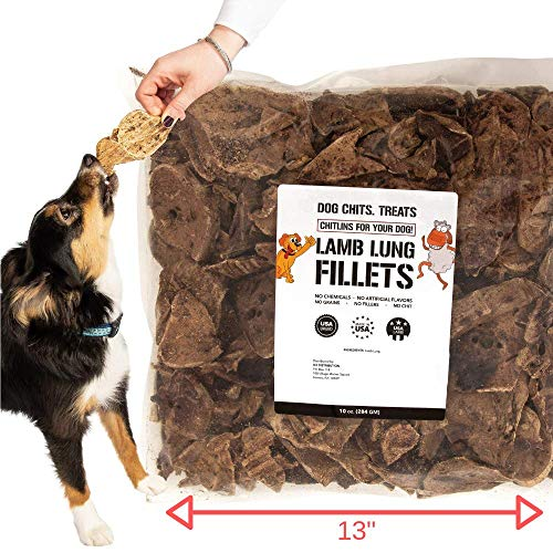 Lamb Lung Fillets for Dogs - Dog and Puppy Chews | Huge Bag! | Made in USA | All-Natural Treats | Crispy not Crumbly | Large and Small Dogs | Smoky Flavor Dogs Love |10 oz.