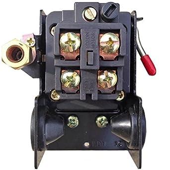 jahyshow Interruptor de presión para compresor de aire 90 – 125 PSI puerto único de Heavy