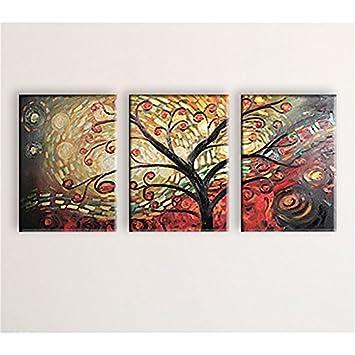 Tableau Peinture Arbre Rouge 80 X 120 Cm Deco Soon Amazonfr