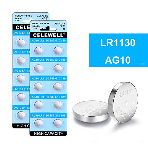 CELEWELL LR1130 AG10 Battery 1.5V Alkaline Button Cell for Watch Toy 20 Pack