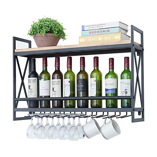 Industrial Wine Racks Wall Mounted with 9 Stem Glass Holder,31.5in Rustic Metal Hanging Wine Holder Wine Accessories,2-Tiers Wall Mount Bottle Holder Glass Rack,Wood Shelves Wall Shelf Home Decor