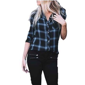 114634b815f152 Chilie Las mujeres se vuelven camisa de cuadros a cuadros Las blusas de  rejilla de manga larga solo pecho Tops tela escocesa azul L: Amazon.es:  Deportes y ...