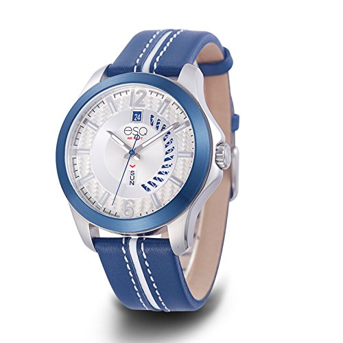 ESQ Men's Quartz Stainless Steel and Leather Casual Watch, Color:Blue (Model: 37ESQE09101A) - Esq Quartz Watch