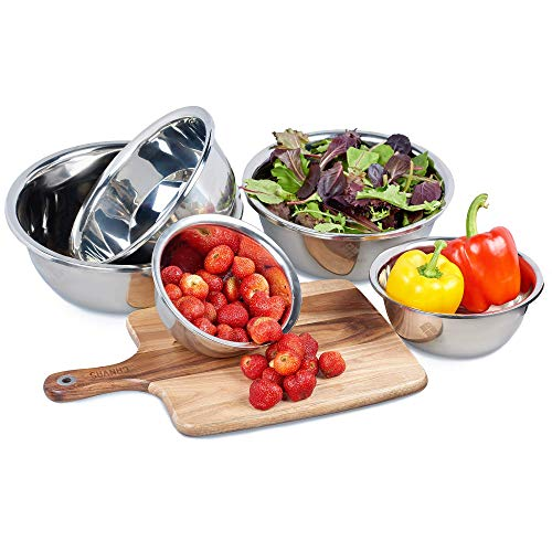 House of Ace's Upgraded Stainless Steel Mixing Bowls (Set of 6) Nested Bowl Design LARGE 8qt to 0.5qt for Cooking Baking Prepping Food at Home & Great Salad Mixing Bowls For Kitchen