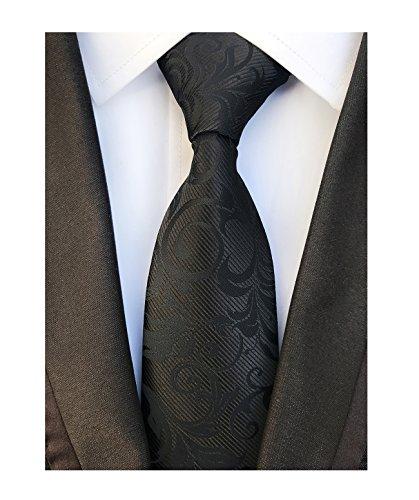 Secdtie Mens Black Anemones Silk Cravat Tie Jacquard Woven Wedding Prom Neckwear -