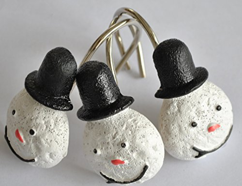 12 PCS Home Fashion Decorative Rust Proof Christmas Snowman Curtain (Polyresin Snowman)