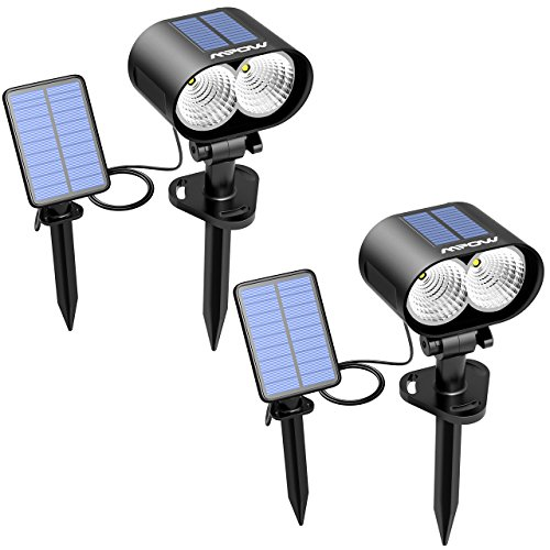 Mpow Solar Spotlight, 2-in-1 Outdoor Landscape Light Security Spotlight Wall light with 2 Solar Panel for Patio, Lawn, Garden, Deck,Yard, Pathway (2 Pack)