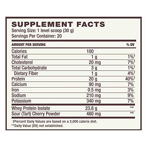 Openfit Recovery Chocolate Flavored Post-Workout Formula w Whey Protein Isolate, Tart Cherry, No Artificial Flavors, 20 Servings