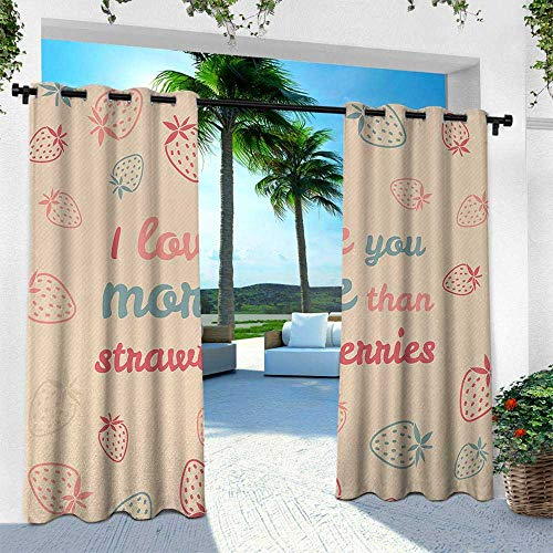 - I Love You More, for Patio Light Block Heat Out Water Proof Drape,Fun Quote and Pastel Backdrop with Scattered Strawberries, W108 x L108 Inch, Sand Brown Coral Slate Blue