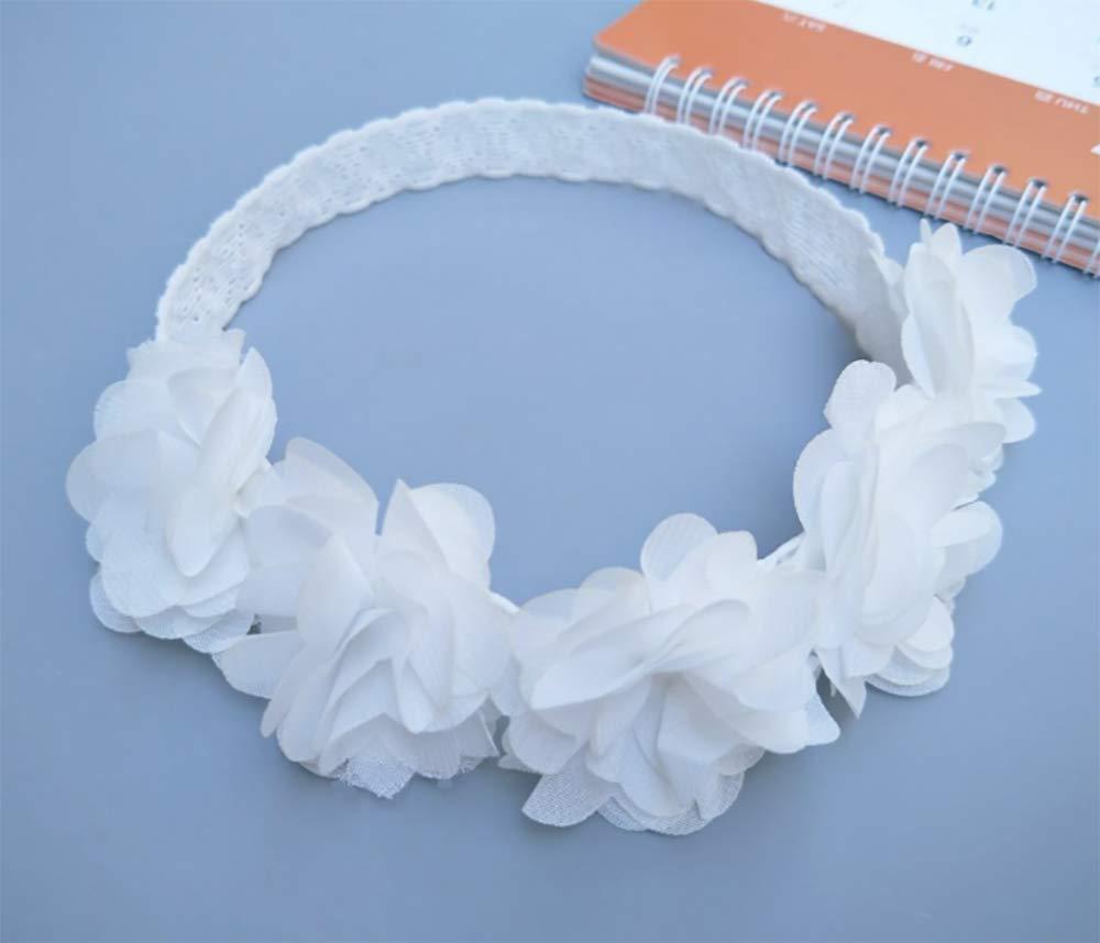 dise/ño de cinco flores color blanco y rosa Deniferymake-up Diadema el/ástica de gasa para beb/é