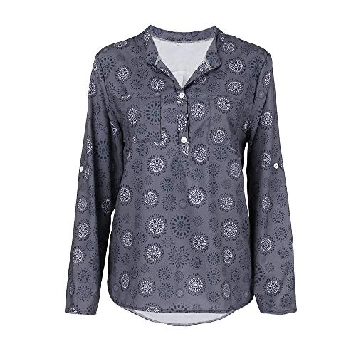 Polka Femme Dot Grande LULIKA Taille Pull Chemisier Imprimer Bouton Tops Manches T Shirt Shirt Gris Longues tzxtqwg8