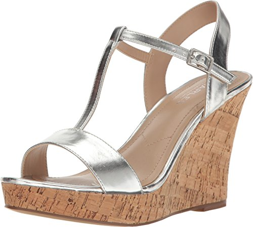 Charles by Charles David Women's Libra Wedge Sandal (11 (B) M, Silver Metallic)