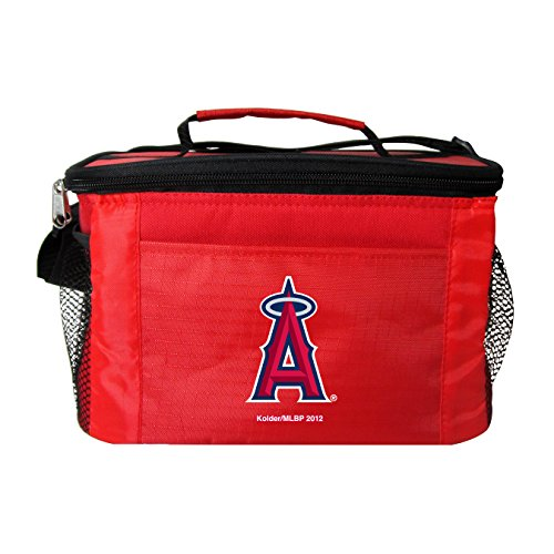 MLB Los Angeles Angels Team Logo 6 Can Cooler Bag or Lunch Box - Red