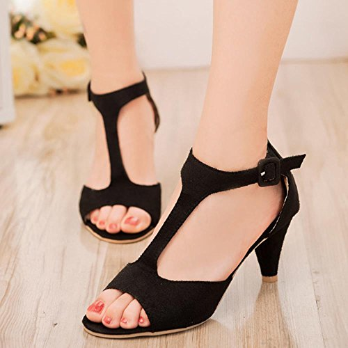 COOLCEPT Mujer Moda Correa En T Mini Tacon Sandalias Stylish Punta Abierta Zapatos Negro