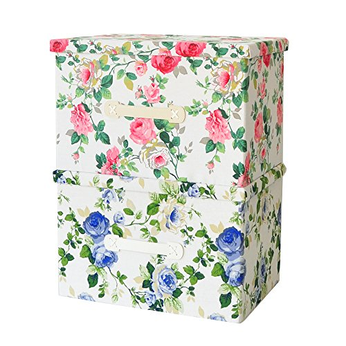 2 Old Fashion Claasic Flower Pattern  Storage Boxes Simulate