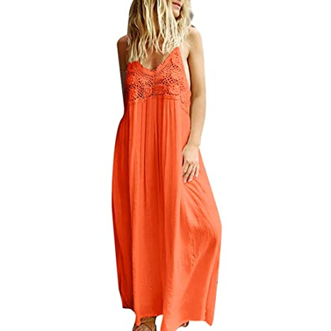 52794ae942 Bluestercool Robes d'été Été Couleur Unie Casual Longue Maxi Dress Femmes  Dames Robe en