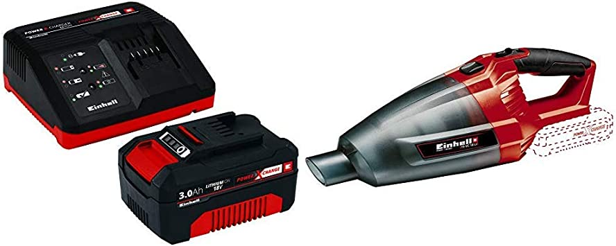 Einhell 2347120 Aspiradora de mano Negro, Rojo + Power X-Change Kit cargador con batería, tiempo de carga de 60 minutos: Amazon.es: Bricolaje y herramientas