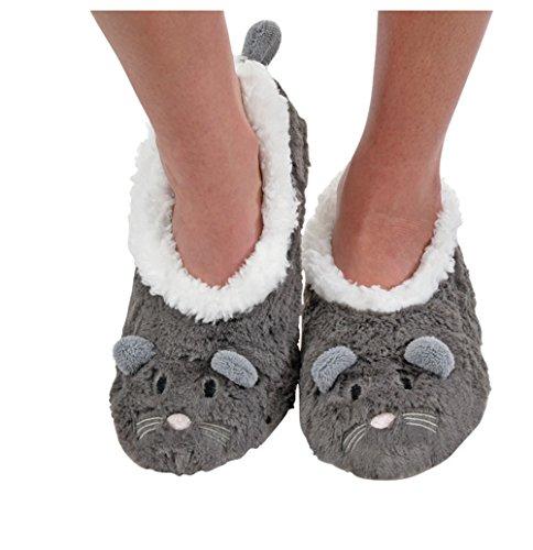 Snoozies Dames Dierenhoofden Sherpa Pluche Fleece Gevoerde Slipper Sokken Muis