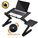 Laptop Stand-Adjustable Laptop Desk Standing Desk Table With 1 Silent Big Cooling Fans Removable Mouse Pad Magnesium Aluminum Alloy Stable Portable