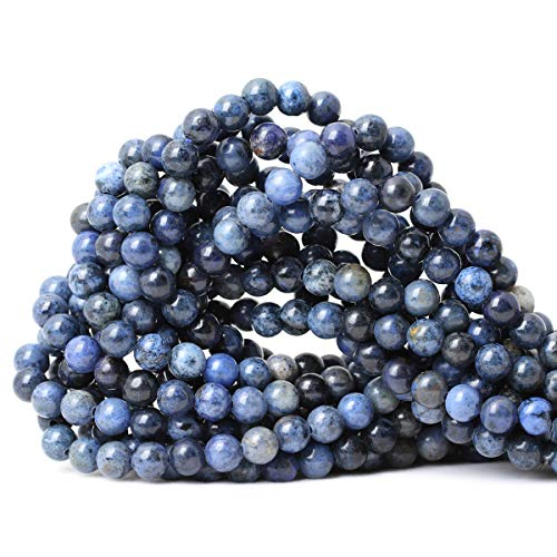 CHEAVIAN 60PCS 6mm Natural Dumortierite Gemstone Round Loose Stone Beads for Jewelry Making Crafts Design 1 Strand 15